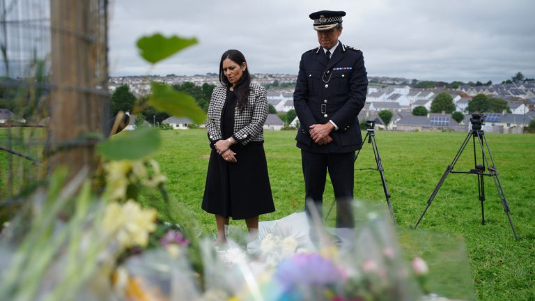 Home Secretary Priti Patel and Chief Constable of Devon and Cornwall Police, Shaun Sawyer lay flowers on Saturday