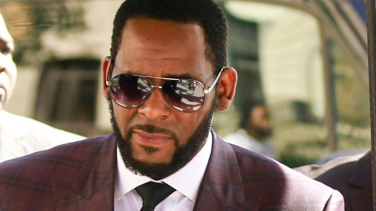 R Kelly pictured outside the Leighton Criminal Court building in Chicago on 26 June 2019. Pic: AP