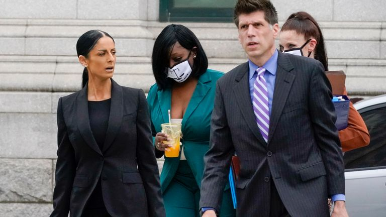 R Kelly's attorneys Nicole Becker and Thomas Farinella outside Brooklyn Federal court for opening statements in the R&B star's long-anticipated federal trial. Pic: AP Photo/Mary Altaffer