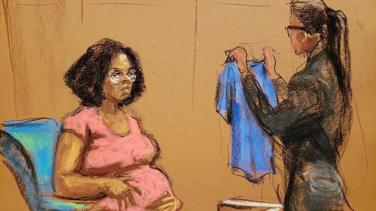 Jerhonda Pace pictured giving evidence on the first day of singer R Kelly's trial in New York
