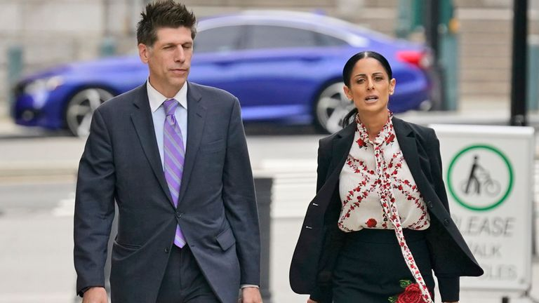 Two of R Kelly's attorneys, Nicole Blank Becker and Thomas Farinella, arrive at Brooklyn Federal court on 19 August 2021. Pic: AP