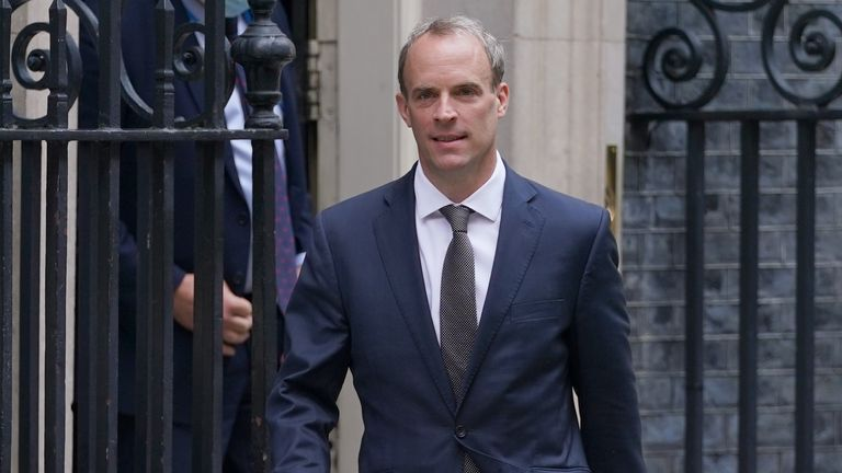 Dominic Raab, leaving Downing Street, central London following a meeting, as he has rejected calls to quit as Foreign Secretary after opposition leaders demanded he be sacked for failing to make a call to help translators flee Afghanistan. Picture date: Thursday August 19, 2021.