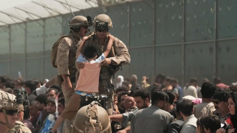 The scenes outside Kabul airport