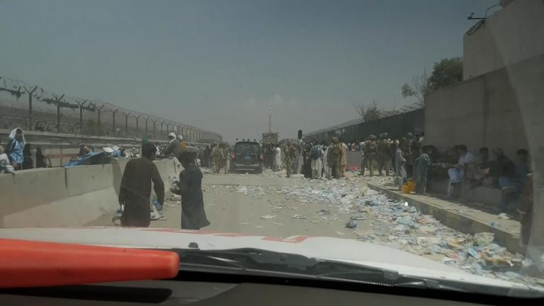 People trying to flee Afghanistan
