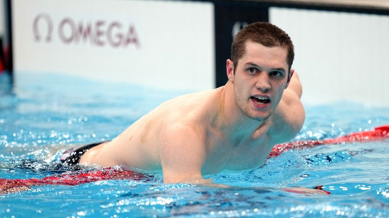 Reece Dunn reacts after winning the S14 200m freestyle