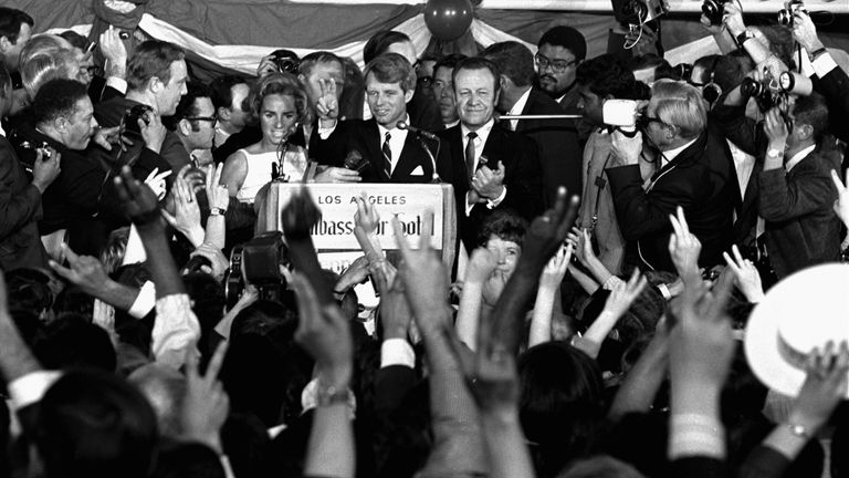Robert Kennedy was addressing campaign workers moments before he was shot. Pic: AP