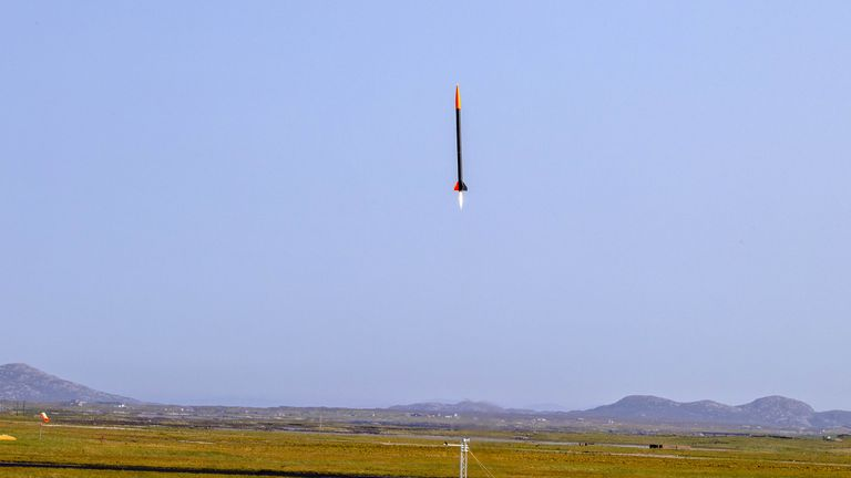 andout photo of a rocket, named ADA, blasting off from Benbecula Airport in the Western Isles ahead of the planned opening of a spaceport. Spaceport 1 joined forces with East Anglian firm Gravitilab Aerospace Services to launch the flight test vehicle, named after Ada Lovelace, the 19th century English mathematician who is considered the world's first computer programmer. Picture date: Thursday August 26, 2021.
