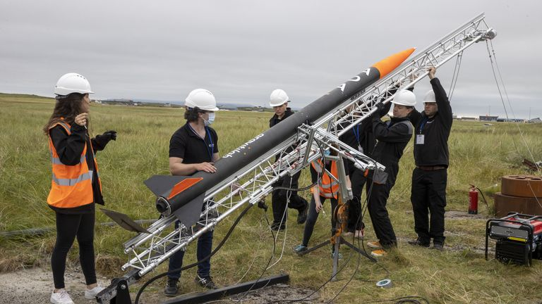 Handout photo of a rocket, named ADA, being prepared for launch from Benbecula Airport in the Western Isles ahead of the planned opening of a spaceport. Spaceport 1 joined forces with East Anglian firm Gravitilab Aerospace Services to launch the flight test vehicle, named after Ada Lovelace, the 19th century English mathematician who is considered the world's first computer programmer. Issue date: Thursday August 26, 2021.