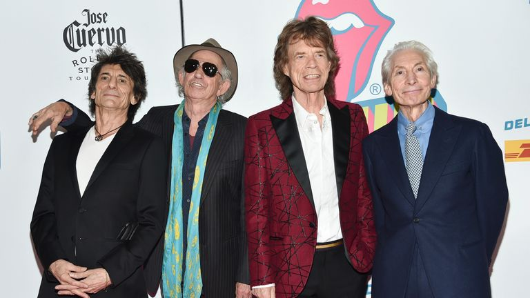 from left, Ronnie Wood, Keith Richards, Mick Jagger and Charlie Watts. Pic: AP
