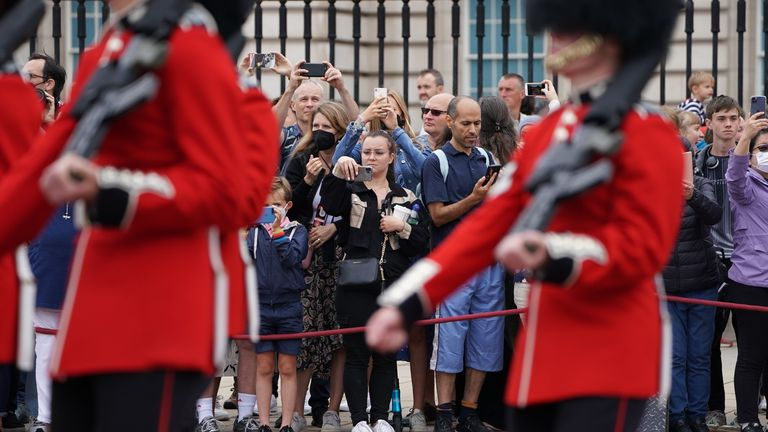 part in the Changing of the Guard, in the forecourt of Buckingham Palace, London, for the first time since the start of the coronavirus pandemic