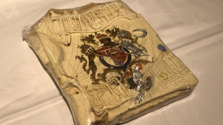 The slice of cake from one of the 23 official wedding cakes was made for the Royal Wedding in 1981