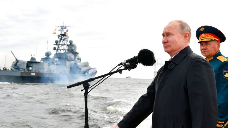 President Putin, pictured on Navy Day, announced how Russia is ramping up its naval power Pic: AP