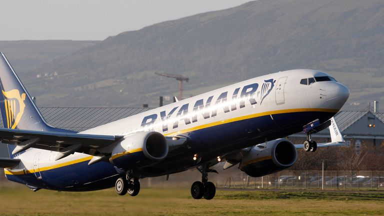In this Dec. 1, 2008 file photo a Ryanair jet takes off from Belfast City Airport Pic: AP