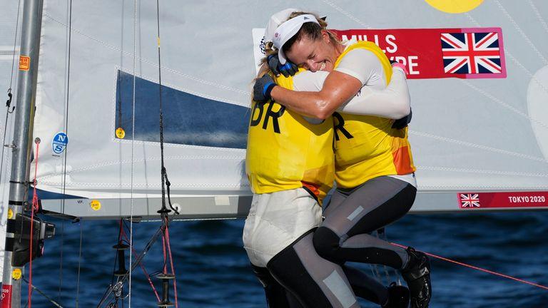 Great Britain's Hannah Mills and Eilidh Mcintyre celebrate. Pic: AP