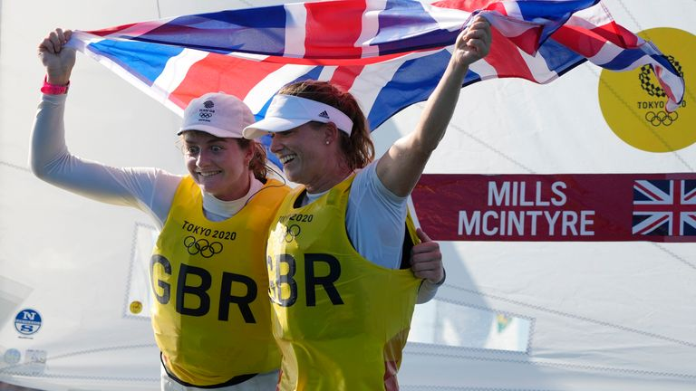 Great Britain's Hanna Mills and Eilidh McIntyre celebrate . Pic: AP
