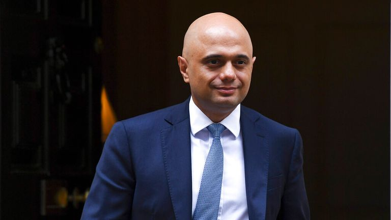 Sajid Javid emerges from Number 10 Downing Street.