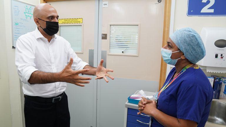 Sajid Javid visits a hospital