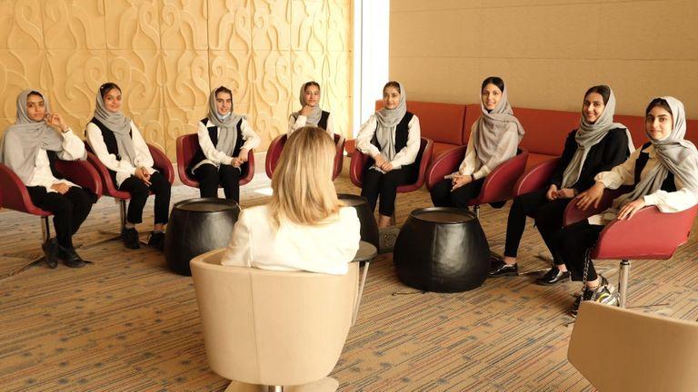 Sky Correspondent Sally Lockwood interviewing teen evacuees from Afghanistan