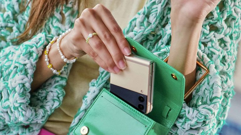 The new Samsung Flip 3 is designed to fit snugly in a purse or pocket