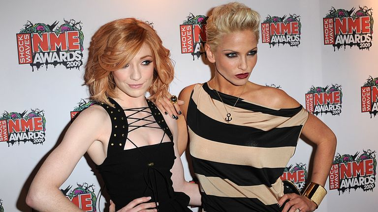 Nicola Roberts (left) and Sarah Harding from Girls Aloud arriving for the Shockwaves NME Awards 2009 at the 02 Academy, Brixton, London