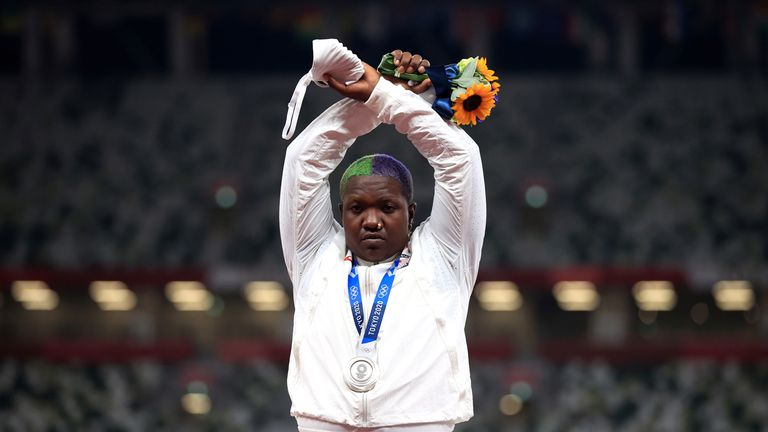 Tokyo 2020 Olympics - Athletics - Women's Shot Put - Medal Ceremony - Olympic Stadium, Tokyo, Japan – August 1, 2021. Silver medallist, Raven Saunders of the United States gestures on the podium REUTERS/Hannah Mckay TPX IMAGES OF THE DAY