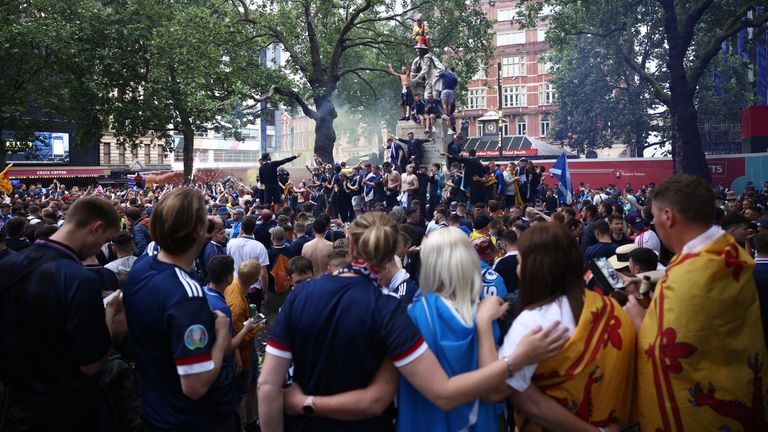 Scotland fans gathered in London's Leicester Square before their team's Euro match against England