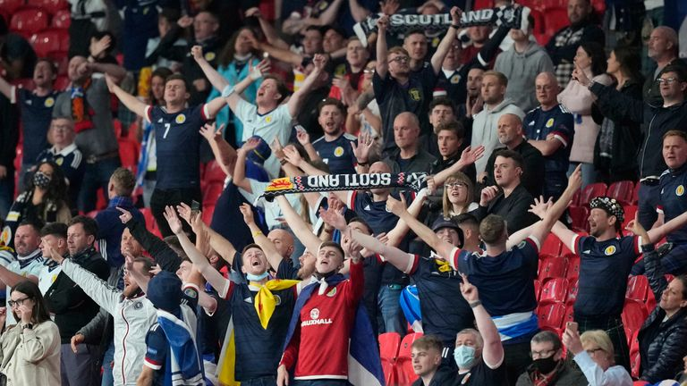 Scotland fans in Wembley Stadium following the match against England