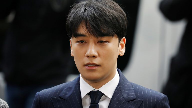 Seungri, a former member of South Korean K-pop band Big Bang, arrives to be questioned over a sex bribery case at the Seoul Metropolitan Police Agency in Seoul in 2019