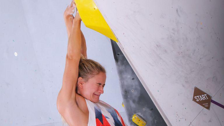 Team GB's Shauna Coxsey during the bouldering discipline in Tokyo