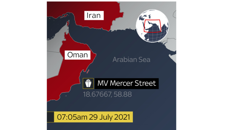 MarineTraffic data shows the Mercer Street off the coast of Oman.