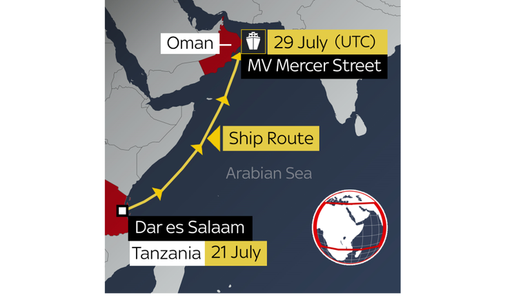 The MV Mercer Street left Dar es Salaam in Tanzania on July 21 and headed north east to the Gulf of Oman.