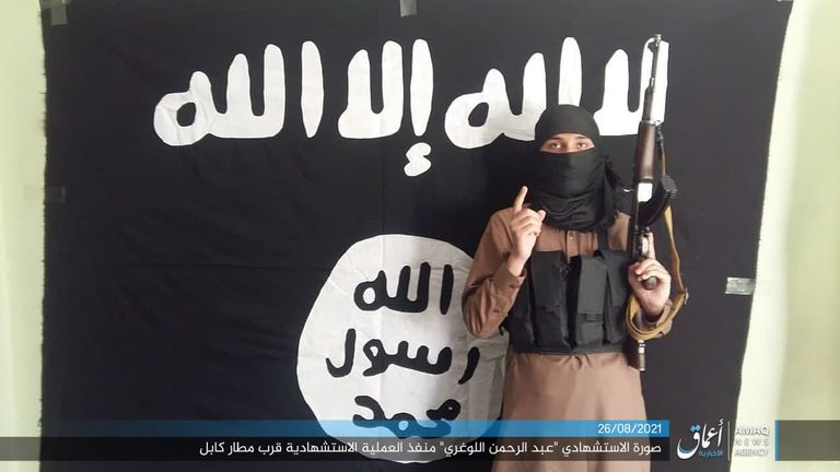 ISIS-K have released a picture they claim is of one of the suicide bombers. The caption reads: 'Martyrdom photograph of Abdul Rahman al-Logari who carried out the martyrdom operation near Kabul airport'