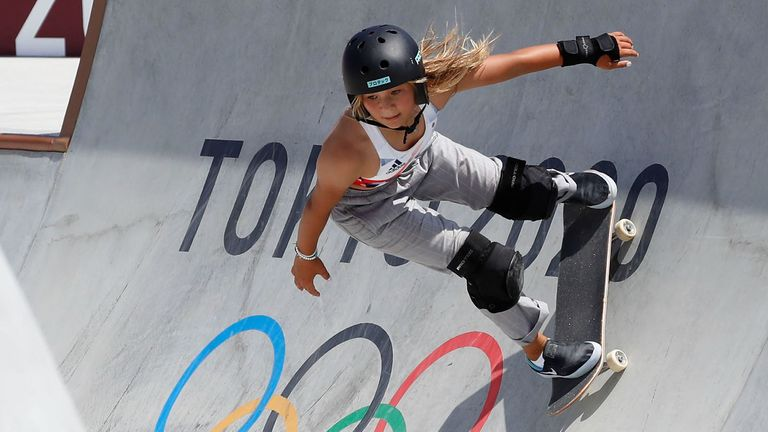 Sky Brown, 13, won bronze for Team GB in the first-ever women's park skateboarding event at the Olympics. Pic: AP