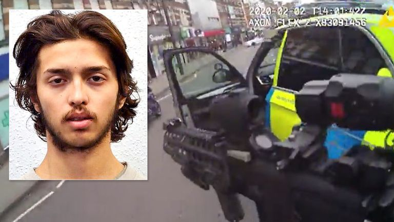 Heavy firearms are pointed at Sudesh Amman. Pic: Met Police