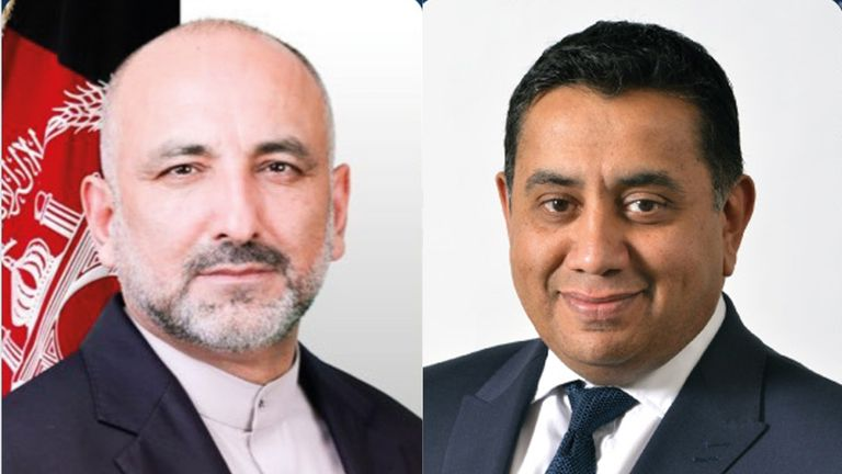 Lord Ahmad (right) has been in regular contact with the Afghan foreign minister Mohammed Haneef Atmar since he took the post in 2017