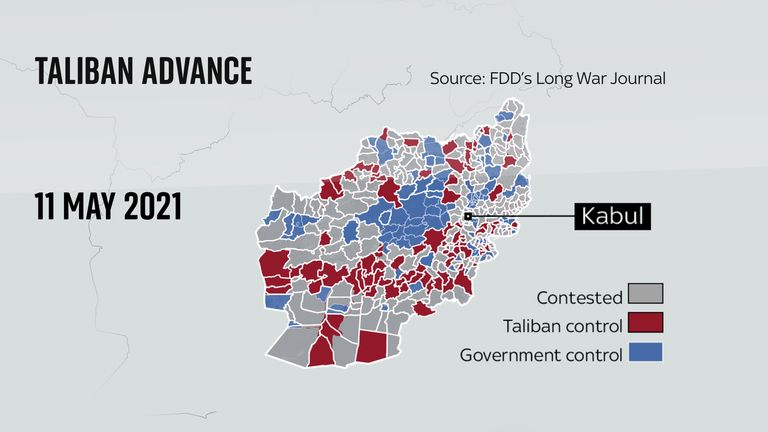 Map shows Taliban gains in Afghanistan