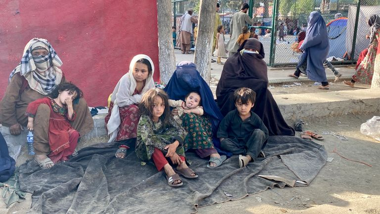 Ms Khurasani managed to escape with her two children and is now rough sleeping in the park in Kabul, alongside thousands of others