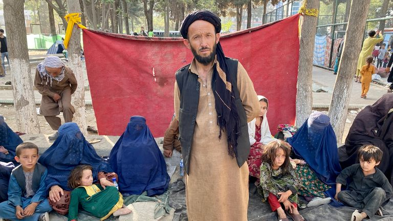 Moazudin Akhunzada arrived with his family from Mazar-i-Sharif a day ago, joining 1,800 families in this park.