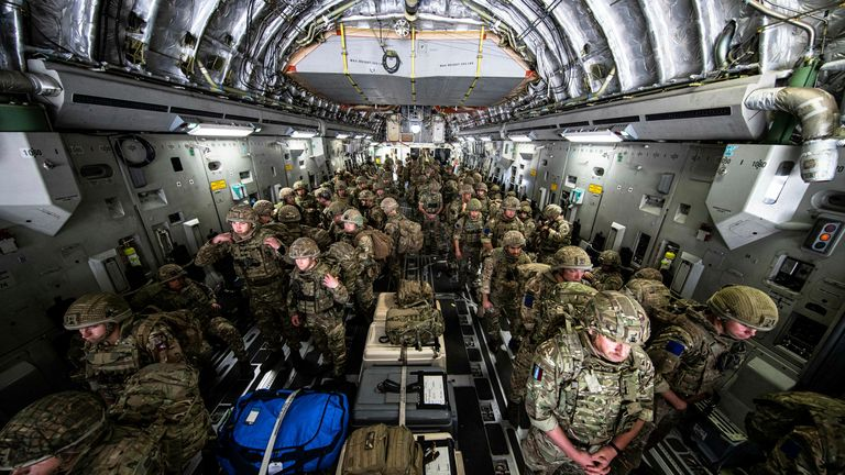 British troops were sent back to Afghanistan last week to assist in evacuating British nationals and entitled persons from Kabul. Pic AP