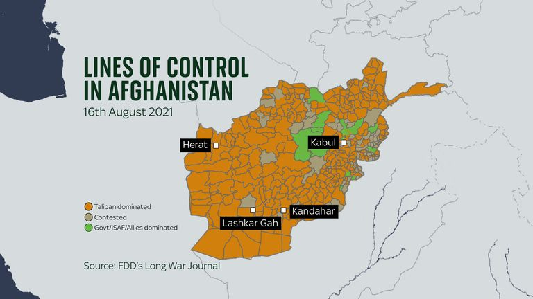 The latest lines of control map for Afghanistan