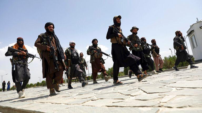 Taliban fighters patrol Kabul on Thursday. Pic: AP