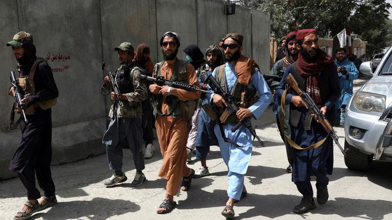 Taliban fighters patrol in the capital city of  Kabul. Pic: AP