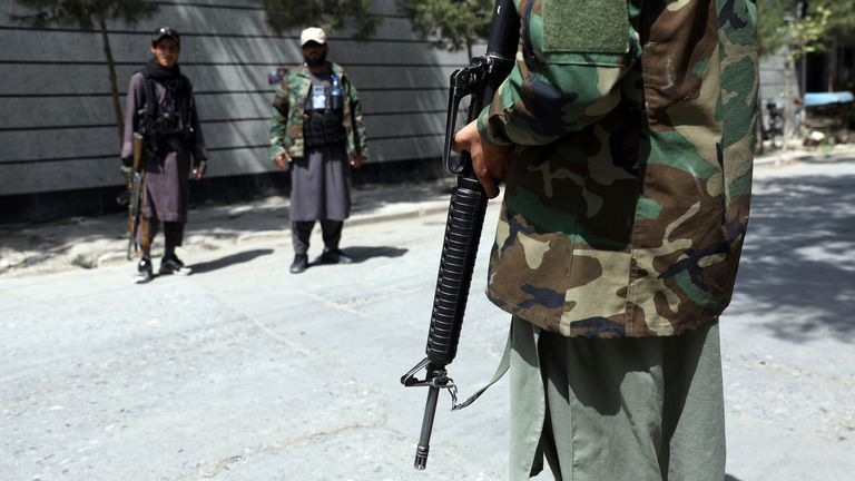 Taliban fighters stand guard at a checkpoint in the Wazir Akbar Khan neighbourhood in the city of Kabul. Pic: AP