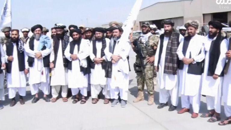 Taliban posing at Kabul airport.