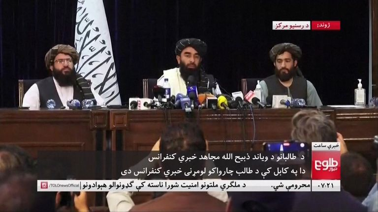Taliban give first news conference in Kabul.
