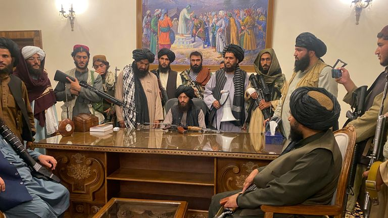 Taliban commanders have taken control of the presidential palace along with dozens of armed fighters. Pic: AP