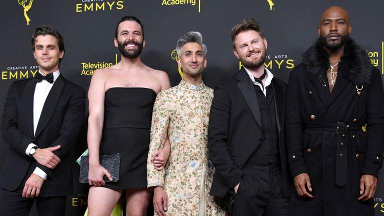 Antoni Porowski, from left, Jonathan Van Ness, Tan France, Bobby Berk and Karamo Brown at the Creative Arts Emmy Awards in 2019. Pic: Richard Shotwell/Invision/AP