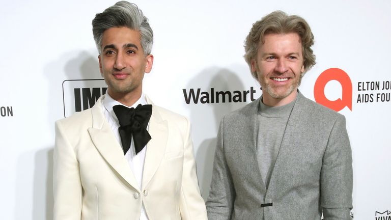 Tan France, left, and husband Rob France at the 2020 Elton John AIDS Foundation Oscar Viewing Party in 2020. Pic: Willy Sanjuan/Invision/AP