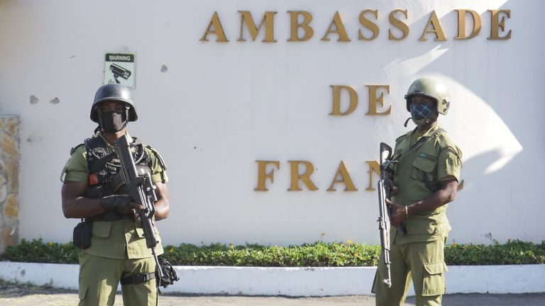 The gunman was shot dead outside the French embassy