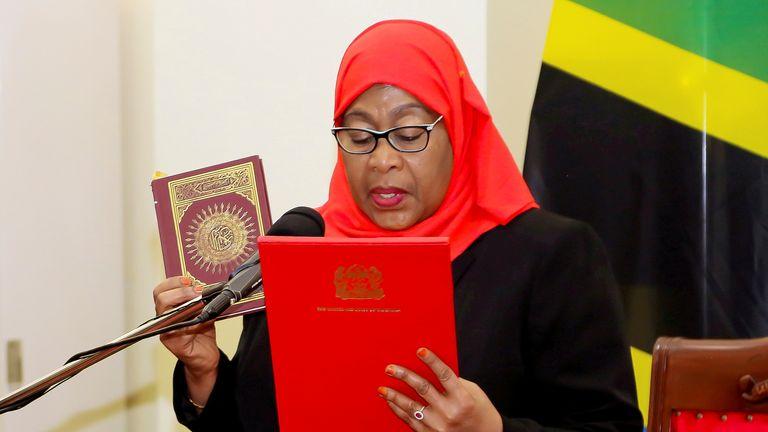 """President Samia Suluhu Hassan (pictured) said on Twitter that the attacker had been """"neutralised"""" and """"calm has returned""""."""
